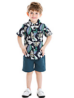 cheap -Kids Toddler Boys' Basic Print Short Sleeve Clothing Set White