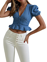 cheap -Women's Denim Shirt Solid Colored Tops V Neck Slim Daily Blue XS S M L