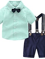 cheap -Kids Boys' Basic Solid Colored Short Sleeve Clothing Set Green