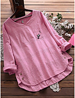 cheap -Women's Blouse Animal Cat Tops - Embroidered Round Neck Loose Cotton Basic Daily Spring Fall White Yellow Blushing Pink M L XL 2XL 3XL 4XL 5XL