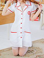 cheap -Women's Lace Cut Out Uniforms & Cheongsams Suits Nightwear Jacquard Solid Colored White One-Size