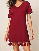 cheap -Women's A-Line Dress Knee Length Dress - Short Sleeves Solid Color Tassel Fringe Summer Casual Vintage Daily Going out 2020 Wine White Black S M L XL