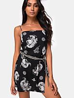 cheap -Women's Strap Dress Short Mini Dress - Sleeveless Print Summer Sexy 2020 Black S M L