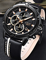 cheap -LIGE Men's Sport Watch Quartz Modern Style Sporty Leather Black Water Resistant / Waterproof Noctilucent Day Date Analog Casual Cartoon - Black / Silver Black+Gloden Black / Stainless Steel