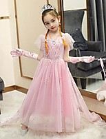 cheap -Fairytale Frozen Dress Girls' Movie Cosplay Cosplay European Pink / Blue / Purple (With Accessories) Dress Children's Day Polyester Cotton