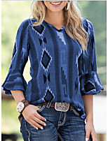 cheap -Women's T-shirt Graphic Tops V Neck Daily Summer Wine Blue Green S M L XL 2XL 3XL 4XL 5XL