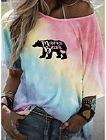 cheap -Women's T-shirt Graphic Round Neck Tops Loose Summer Blue Purple Yellow