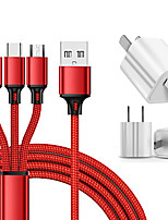 cheap -Mini USB Cable 2.5 A 1.2m(4Ft) 1 to 3 Terylene USB Cable Adapter For Huawei / Xiaomi / iPhone