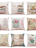 cheap -9 pcs Linen Pillow Cover, Food Graphic Prints Casual Modern Square Traditional Classic