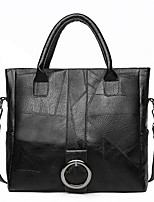 cheap -Women's Zipper / Chain PU Leather Top Handle Bag Leather Bags Solid Color Black / Brown