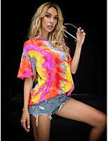 cheap -Women's T-shirt Tie Dye Print Round Neck Tops Loose Basic Summer Yellow / Going out