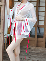 cheap -Women's Lace Cut Out Mesh Robes Suits Nightwear Jacquard Solid Colored White One-Size