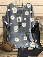 cheap -Women's Blouse Floral Tops Round Neck Daily Summer Gray S M L XL 2XL 3XL