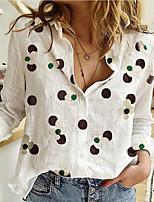 cheap -Women's Shirt Graphic Shirt Collar Tops Loose Cotton White