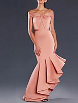 cheap -Mermaid / Trumpet Minimalist Sexy Engagement Prom Dress Off Shoulder Sleeveless Asymmetrical Satin with Sleek Ruffles 2020