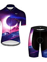 cheap -21Grams Men's Short Sleeve Cycling Jersey with Shorts Nylon Polyester Black / Blue 3D Gradient Rocket Bike Clothing Suit Breathable 3D Pad Quick Dry Ultraviolet Resistant Reflective Strips Sports 3D