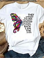 cheap -Women's T-shirt Animal Letter Tops Round Neck Daily Summer Wine White Black S M L XL 2XL 3XL