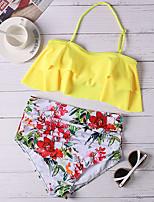 cheap -Women's Tankini Swimsuit Ruffle Floral Halter Neck Swimwear Bathing Suits Yellow