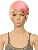 cheap -Synthetic Wig Straight Layered Haircut Wig Short Pink / Blonde Synthetic Hair 10 inch Women's Women Synthetic Sexy Lady Mixed Color hairjoy