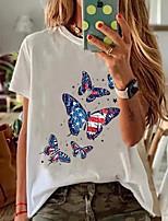 cheap -Women's T-shirt Graphic Round Neck Tops Loose Cotton Summer White Black