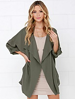 cheap -Women's Coat Daily Regular Solid Colored Orange / Green S / M / L