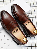 cheap -Men's Summer / Fall Classic / British Daily Office & Career Loafers & Slip-Ons Faux Leather Non-slipping Wear Proof Black / Brown