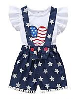 cheap -Baby Girls' Basic Print Short Sleeve Regular Clothing Set Navy Blue