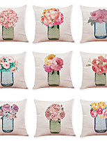 cheap -9 pcs Linen Pillow Cover, Art Deco Flower Casual Modern Square Traditional Classic