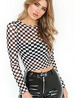 cheap -Women's T-shirt Check Tops Round Neck Daily White S M L XL