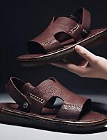 cheap -Men's Summer Outdoor Sandals Cowhide Non-slipping Black / Brown