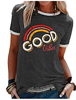 cheap -Women's T-shirt Graphic Round Neck Tops Loose Summer Black Purple Green