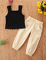 cheap -Kids Girls' Basic Casual Solid Colored Sleeveless Regular Regular Clothing Set Black