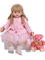 cheap -FeelWind 24 inch Reborn Doll Baby & Toddler Toy Reborn Toddler Doll Baby Girl Gift Cute Lovely Parent-Child Interaction Tipped and Sealed Nails 3/4 Silicone Limbs and Cotton Filled Body LV0101 with