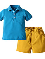 cheap -Kids Boys' Basic Solid Colored Short Sleeve Clothing Set Purple