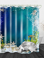 cheap -Starfish Digital Print Waterproof Fabric Shower Curtain for Bathroom Home Decor Covered Bathtub Curtains Liner Includes with Hooks
