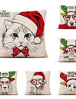 cheap -Set of 6 Linen Pillow Cover Christmas Contemporary Classic Christmas Throw Pillow