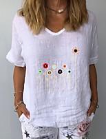 cheap -Women's T-shirt Floral V Neck Tops Summer White Yellow Navy Blue