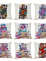 cheap -9 pcs Linen Pillow Cover, Poker Character Casual Modern Square Traditional Classic