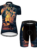cheap -21Grams Women's Short Sleeve Cycling Jersey with Shorts Nylon Polyester Black / Yellow 3D Novelty Skull Bike Clothing Suit Breathable 3D Pad Quick Dry Ultraviolet Resistant Reflective Strips Sports 3D