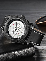 cheap -Men's Mechanical Watch Quartz Genuine Leather 30 m Water Resistant / Waterproof Noctilucent Day Date Analog Fashion Cool - Black Brown One Year Battery Life