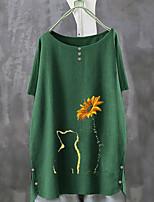 cheap -Women's T-shirt Floral Loose Tops Blue Fuchsia Green / Short Sleeve
