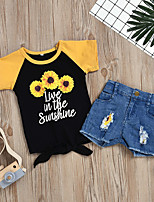 cheap -Kids Girls' Active Basic Daily Wear Festival Sun Flower Floral Print Short Sleeve Regular Short Clothing Set Black