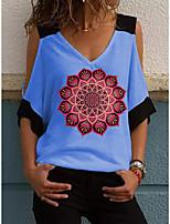 cheap -Women's T-shirt Graphic Print V Neck Tops White Blue Yellow