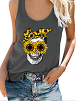 cheap -Women's Tank Top Skull Tops Round Neck Cotton Daily Summer Blue Purple Red S M L XL 2XL 3XL