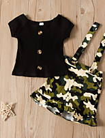 cheap -Kids Toddler Girls' Active Basic Daily Wear Festival Jacquard Solid Colored Short Sleeve Regular Regular Clothing Set Black