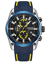cheap -MEGIR Men's Sport Watch Quartz Stylish Silicone Black / Blue 30 m Water Resistant / Waterproof Calendar / date / day Chronograph Analog Fashion - Black+Gloden Black Blue One Year Battery Life