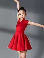 cheap -Latin Dance Kids' Dancewear Dress Pleats Girls' Training Daily Wear Short Sleeve Polyester