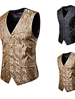 cheap -Plague Doctor Vintage Gothic Steampunk Masquerade Vest Waistcoat Men's Jacquard Costume Black / Camel Vintage Cosplay Event / Party Sleeveless