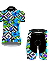 cheap -21Grams Women's Short Sleeve Cycling Jersey with Shorts Nylon Polyester Black / Blue Plaid Checkered Butterfly Bike Clothing Suit Breathable 3D Pad Quick Dry Ultraviolet Resistant Reflective Strips