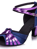 cheap -Women's Latin Shoes PU Heel Cuban Heel Dance Shoes Purple